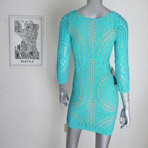 bebe Dresses - bebe ∙ boat neck mix stitch bodycon dress